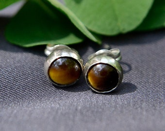 Tiger's Eye Earrings, Silver Post Tigereye Earrings, Silver Stud Earrings with Tiger Eye Gemstone