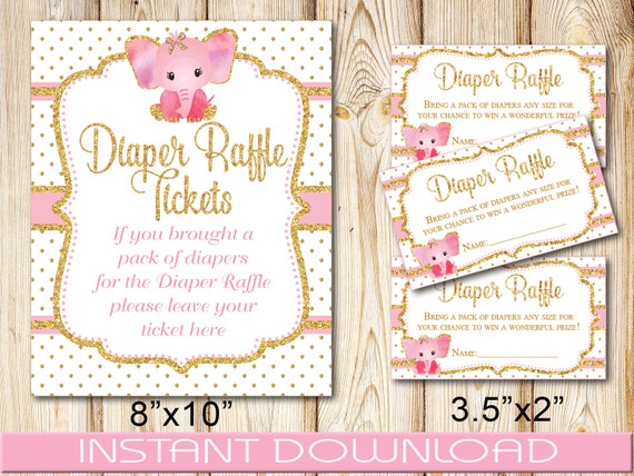 Baby Shower Diaper Raffle Tickets Girl Diy Instant Download Printable Pink Gold Elephant Pdf And Jpg Format