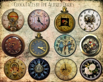 Victorian Watch Faces, Steampunk Watches, Victorian Altered Watch Face, Steampunk Collage Sheet, Steampunk Cupcake Toppers