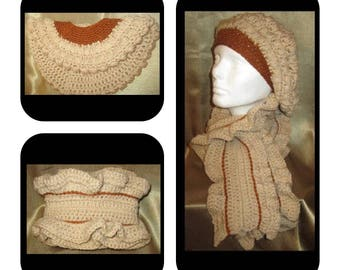 Slouchy Hat and Ruffled Scarf