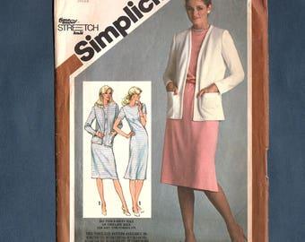 Simplicity 9832 Misses' Slim Fitting Dress, Unlined Cardigan Jacket, Sewing Pattern, Vintage 1980, Size 10-12-14, Uncut Pattern
