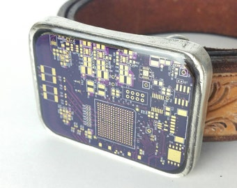 Purple Circuit Board Belt Buckle