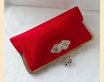 red evening bag, silk clutch purse, Art Nouveau evening clutch, personalised bag, red or black clutch, small bag with diamante trim