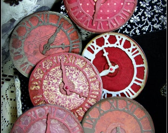 Sturdy Vintage Style Finished Reds Purples Clock Faces for Mixed Media Canvas Scrapbooking Cardmaking and More!