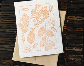 Orange Plantable Greeting Card  / Letterpress Card / Seed Paper / Flower Card / Blank Card / Plantable Stationery / Mother's Day Card