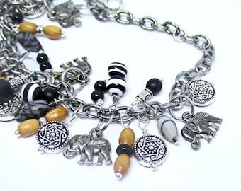 Elephant Charm Bracelet, Silver Elephant Bracelet Women, Elephant Gifts, Ganesha Bracelet, Gifts for Elephant Lovers, 6in wrist and up