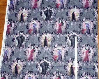 DISNEY VILLAINS cotton fabric - Maleficent - Evil Queens - large print - bty