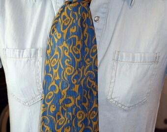 Retro Men's Tie, Fine's Men's Stores, Norfolk VA, Blue and Gold, Royal Blue, Peacock Blue, Polyester, Halloween Costume