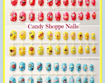 Cute Candy Fake Nails   Pink Candy Nails Kawaii Style Japanese Nail Art   Candy Dessert Press On Nails   Girly Nails   Acrylic Nails