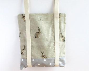 Rabbit Tote Bag, Fabric Tote, Rabbit Bag, Canvas Tote Bag, Rabbit Lover Gift, Hare Gifts, Grocery Bag Canvas, Reusable Bag, Shoe Bag