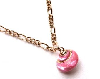 Hot Pink Snail Sea Shell Necklace. You Choose Chain Length. FAST Shipping with Tracking for Domestic Buyers. Gift Box Included.