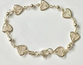MILOR ITALY Sterling Silver Heart Bracelet 925