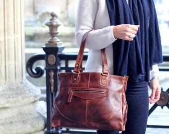 Leather Handbag Purse Bag, brown