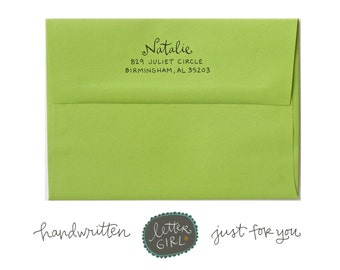 Handwritten Natalie Address Stamp: your choice of self-inking or red rubber