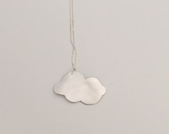 Large cloud pendant necklace, fine silver with sterling silver chain