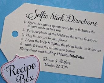 Selfie Stick Tags, Hashtag Sign, Social Media Sign, Wedding Props, Funny Sign, Instagram Sign, Selfie Stick Wedding Sign, Wedding Hashtag