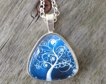 Tree of life Necklace, Winter Jewelry, Tree necklace, Women's gift, Tree of life jewelry, Gifts for her, Triangle necklace, something blue