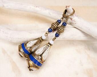 Brass long earrings Nepal earrings Brass ethnic earrings Tibetian earrings White blue teardrop brass earrings