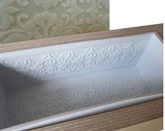Embossed Silicone Mould Liner in a Wooden Soap Mould