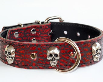 """Dark Red Leather Skull Collar - Skull Leather Dog Collar - 1-1/2"""" Red Leather Dog Collar - Leather Skull Dog Collar - Made In Usa"""
