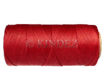 Linhasita Macrame Cord, 15 meters/16 yards, Knotting Cord, Waxed Polyester - Bright Red