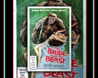 The BRIDE And The BEAST On Linen (1958) Very Rare 27x40 Rolled Belgian One Sheet Movie Poster Original Vintage Collectible