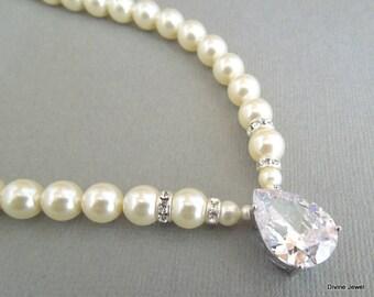 bridal necklace Pearl Necklace Ivory Swarovski Pearl crystal necklace Bridal Statement Necklace wedding Pearl Necklace cubic zirconia ARIA