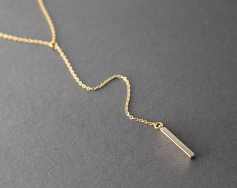 Little Bar Drop Necklace // Minimal Y Necklace // Bar Lariat Necklace
