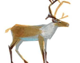 Clive Caribou - Caribou Art Print, Caribou Decor, Woodland Creature, Animal Art Print