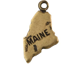 OOPS*** Brass Ox Tiny Maine State Charm Drops (2) chr204QOOPS