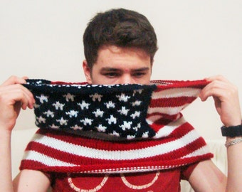 Knit American Flag Scarf, US Flag, USA Flag Scarf, Cowl, mens gifts for boyfriend, gifts for him anniversary american flag red white blue
