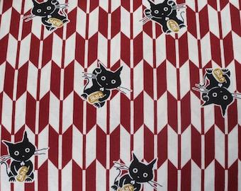 Fabric Japanese yagasuri arrows patterns manekineko red 50 x 55 cm