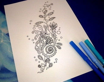 Leafy seahorse colouring page