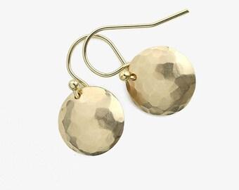 Medium Dangle Earrings Gold Minimalist | Handmade Jewelry | Gold Filled Earrings Dangle | Minimalist Earrings Handmade Hammered Disc