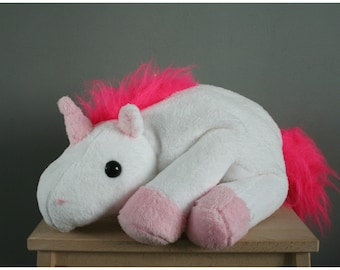 Unicorn plush, white/pink (can also be ordered in other colors), made to order