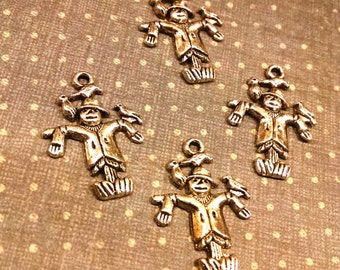 4 silver tone Metal Scarecrow Charms / fall charms / Jewelry Supplies / Jewelry Findings / altered art supplies / mixed media / halloween
