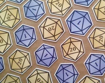 Glossy D20 Dungeons & Dragons stickers