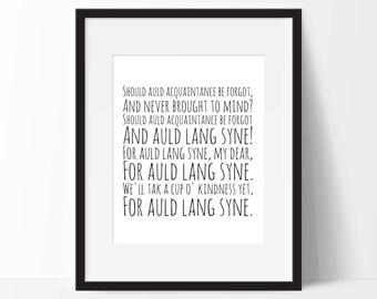 "Auld Lang Syne print - Robert Burns print. Art Print. Perfect for 10""x8"" frames.. Christmas Gift Idea."