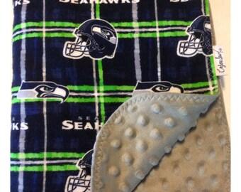 Seahawks baby blanket, receiving blanket, flannel baby blanket, Seahawks minky blanket, security blanket, Seattle baby