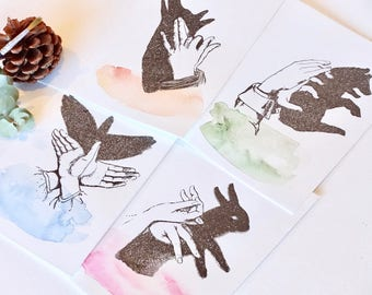 All occasion card, hand painted, letterpress, beautiful animals, hand shadow puppet, luxury greeting card, hand painted watercolor card x4