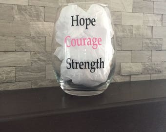 Breast Cancer stemless wine glass
