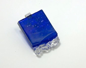 Art Glass Jewelry Unique Dimensional Finely Hand Sculptured Pendant Necklace Night Sky Artist Signed Collection