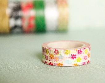 Masking tape, washi tape flowers 15mm x 10m 1 roll