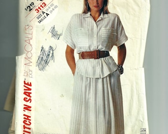 McCall's Misses' Shirt and Skirt Pattern 3113