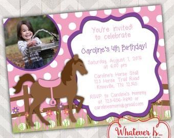 Shabby Chic Pony Birthday Invitation