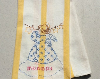 Vintage Embroidered Towel Angel Does Laundry on Monday Day of the Week DOW Retro Kitchen