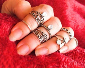 Set rings MIDI silver festival style hippie boho chic, rings, antique, bohemia, jewel, sexy, hands, fingers