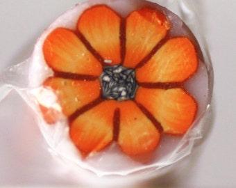 Orange Flower Cane, Polymer Clay Flower Cane, Raw Unbaked Millefiore