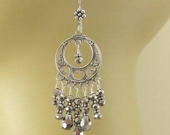 Bold Sterling Silver Chandelier Earrings Silver Crystal Gypsy Earrings Neutral Sparkling Bohemian Jewelry
