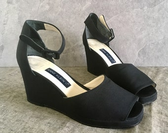 Vtg 90's Black Ankle Strap Wedge / Ann Klein II Peep Toe Wedge / Peep Toe Sandal / Women's 7M